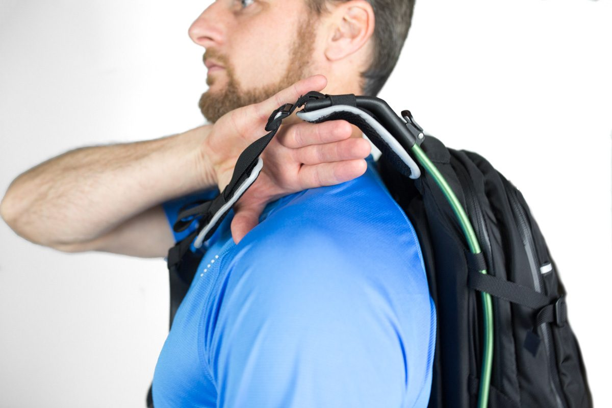Backpack straps sit completely clear of your shoulders. Weight placed on your hips for a weightless feeling.