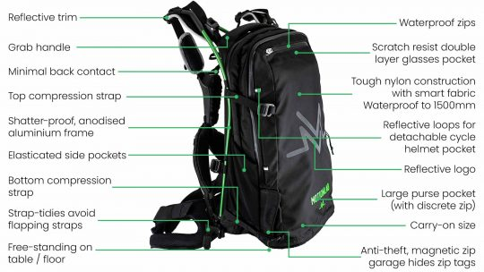Waterproof rucksack with anti-theft locks